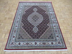 6'7 X 8'5 Hand Knotted Red Fine Mahi Tabrez Rug Wool And Silk G9600