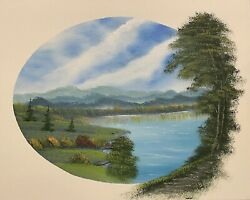 """Bob Ross Style Wet On Wet Landscape Painting """"meadow Brook"""" 16x20 In"""