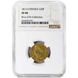 1811-a 20 Franc Head Of Napoleon Ngc Xf40 Rive Dand039or Collection