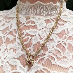 Vintage Victorian Style Barley And Corn Chain With Filigree Garnet Heart Gate Pe