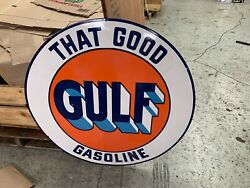 That Good Gulf Gasoline Large Heavy Porcelain Sign 36 Inch Round Near Mint
