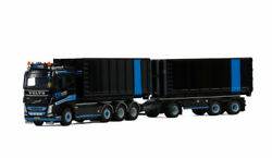 For Volvo Fh4 Sleeper Cab 8x2 Tag Axle Hooklift System 3 Axle Trailer 1/50 Model