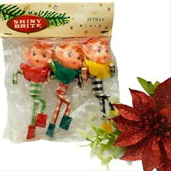 Vintage Shiny Brite Christmas Pixie Elf Ornaments 3 Pack Japan 1950s Nos Decor