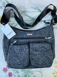 Baggallini Bag and Clutch Black and Grey exterior Purple Interior # EWY571B004 $30.00