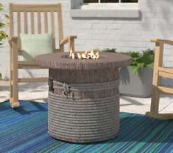 Rustic Round Fire Pit Table Outdoor Heater Backyard Lava Rocks Weather Resistant