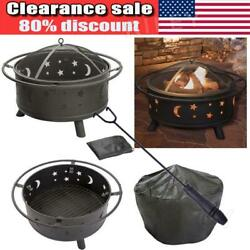 Outdoor 30 Inch Fire Pit Stars Moons Firepits Fireplace Burning Heater With Poke
