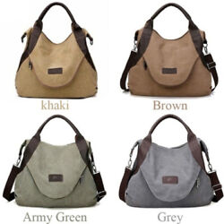 Women#x27;s Shoulder Cross Body Handbags Large Pocket Casual Canvas Leather Bags $23.73
