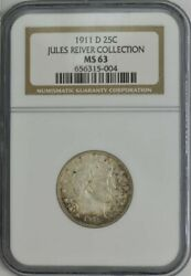 1911-d Barber Quarter 25c Jules Reiver Collection Ms63 Ngc 944025-2
