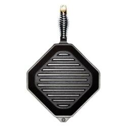 Finex Cast Iron Collection Bbq Grill Pan Speed Cool Spring Handle 11.6 Black