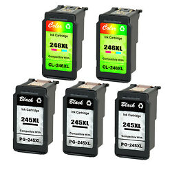 Pg-245xl Cl-246xl Ink Cartridge 3 Black+2 Color For Canon Mg2420 Mg2920 Tr4520