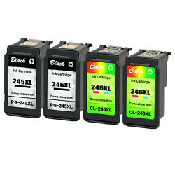 Pg-245xl Cl-246xl Ink Cartridge 2 Black+2 Color For Canon Mg2420 Mg2920 Tr4520