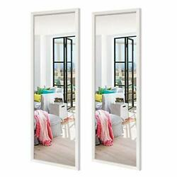 inch Full Length Mirrors Wall Mounted Rectangular White Framed Wall 14x48