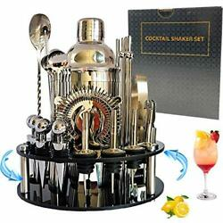 30-piece Cocktail Shaker Barware Tool Sets With Rotating Stand Professional