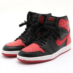 Nike Leather High Top Sneakers 10.4 Men's Black X Red D