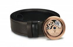 Tf Est 1968 Rotor Caged Rose Gold Buckle With Reversible Leather Belt