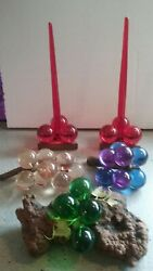 Lot All Colors Mcm Lucite Grape Cluster Decor On Wood With Candles/candleholders