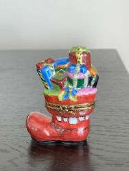 Limoges Hand Painted Porcelain Boot Christmas Gifts Decor Trinket Box