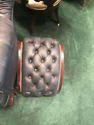 8010 Pair Of American Renaissance Revival Leather Foot/gout Stools Rare C 1880