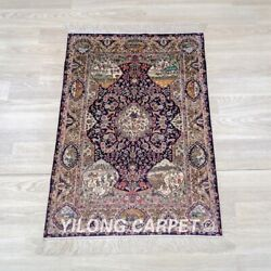 Yilong 2and039x3and039 Handwoven Silk Carpet High Density Antique 500l Tapestry Rug 052h