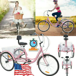 7-speed 24 3wheel Adult Tricycle Bicycle Trike Cruise Bike W/ Large Basket Pink