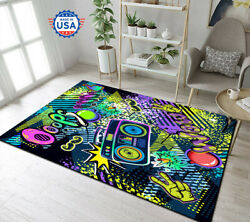 Cool Game Over 90s Music Style Area Rug Decor Floor Carpet, Teen's Room, Gift