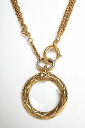 Vintage Gold-tone Loupe And Glass Pendant Necklace Gold 33