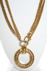 Vintage Gold-tone Loupe Magnifying Glass Pendant Necklace Gold 37.5