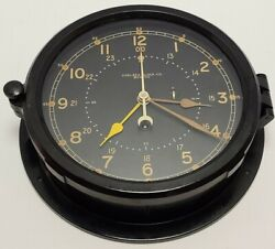 Vintage Chelsea Clock Co. Marine Military Clock W/certificate Hughes Aircraft Co