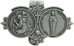St. Christopher And Our Lady Of The Highway Visor Clip Car Accessory, 3 Inch