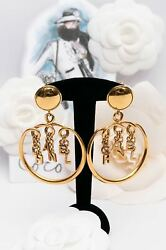 Beautiful Gilted Metal Clip-on Hoop Earrings With Charms