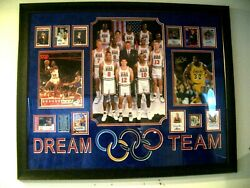 Usa Dream Team Signed Basketball Olympics Collage Display Psa/dna Autographed