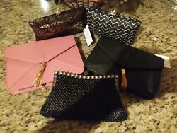 Lot Mixed 5 Woman Clutch Purses And Lot Of 5 Hats
