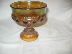 3 Vintage Amber Iridescent Carnival Glass Crown Thumbprint Compotes Candy Dish