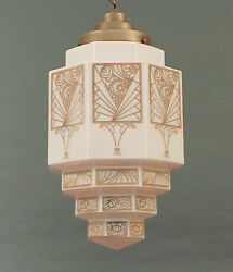 """Huge 1920s Art Deco Stepped, Decorated American """"wedding Cake"""" Light Fixture"""
