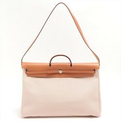 Hermes Herbag Zip Gm Toile Ash X Leather Natural Silver Gold