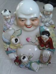 Large Vintage Antique Chinese Porcelain Happy Laughing Buddha With 5 Kidsread D
