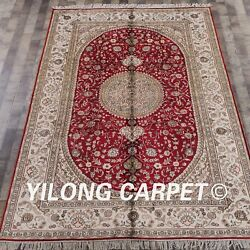 Yilong 6'x9' Handknotted Silk Carpet Home Interior Living Room Red Rug Wy306c