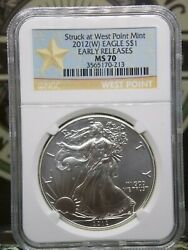 2012 W American Silver Eagle 1 Ngc Ms70 Struck At West Point Er Eccandc Inc
