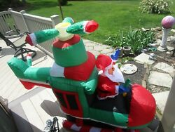 Boscov's Department Store 5ft Animated Santa In Helicopter Airblown Inflatable