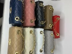 Italian Leather Handbag crossbody Quilted Genuine Beige Leather Gold Strap $75.00