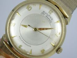Vintage 50's Bulova Mystery Dial Solid 14k Gold Case 30j Automatic Watch Working