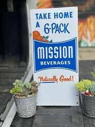 Authentic Original Double Sided Mission Orange Painted Metal Soda Sign