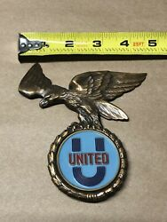 United Lapel Pin 50s Vintage Community Help Support Gold Badge Airlines Eagle