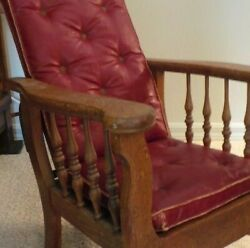 Child Chair Morris Style Original Finish And Leather Cushions Antique Burgundy