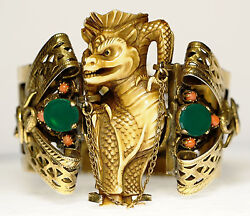 Dragon Foo Dog Serpent Brass Jade Coral Hinged Cuff Bracelet Game Of Thrones