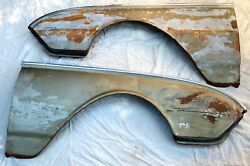 Vintage 1962 Ford Thunderbird Original Pair Front Fenders [2] W/script And Rubber