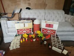 Vintage Fisher Price Little People Play Family - 2 Farms, Snowmobile, And More