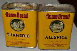 2 Home Brand Griggs Cooper St. Paul Minnesota Spice Tins Turmeric And Allspice