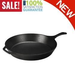 Heavy Duty 15 Seasoned Cast Iron Skillet L14sk3 With Assist Handle Durable New