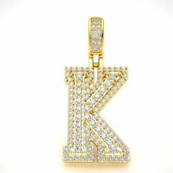 10k Gold Round Diamond 1 3d Varsity Initial Letter And039kand039 Pendant Necklace 1.65ct
